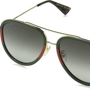 Gucci GG0062S 003 Gold/Green GG0062S Pilot Sunglas